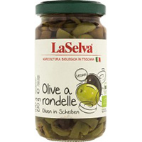 La Selva Oliven a rondelle - grüne und dunkle Oliven in Scheiben
